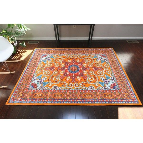 Oriental Traditional Isfahan Persian Light Blue Navy White Orange... (105 CAD) ❤ liked on Polyvore featuring home, rugs, white rug, dark blue rug, dark blue area rug, navy rug and yellow area rug