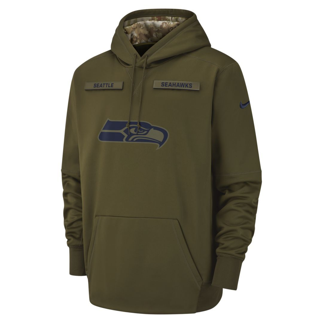 Nike Therma Salute to Service (NFL Seahawks) Big Kids  Hoodie Size S (Olive) 7eb4b2eac