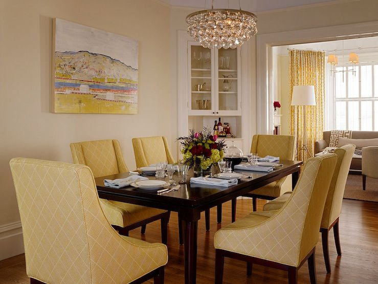 Gorgeous Yellow Dining Room With Curve Chairs Glossy Black Lacquer Rectangular Table Robert Abbey Bling Chandelier And Corner Hutch