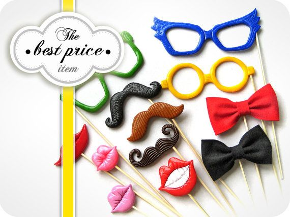 BEST PRICE for 12 Piece Plastic Photo Booth by MisterMustache, $67.00
