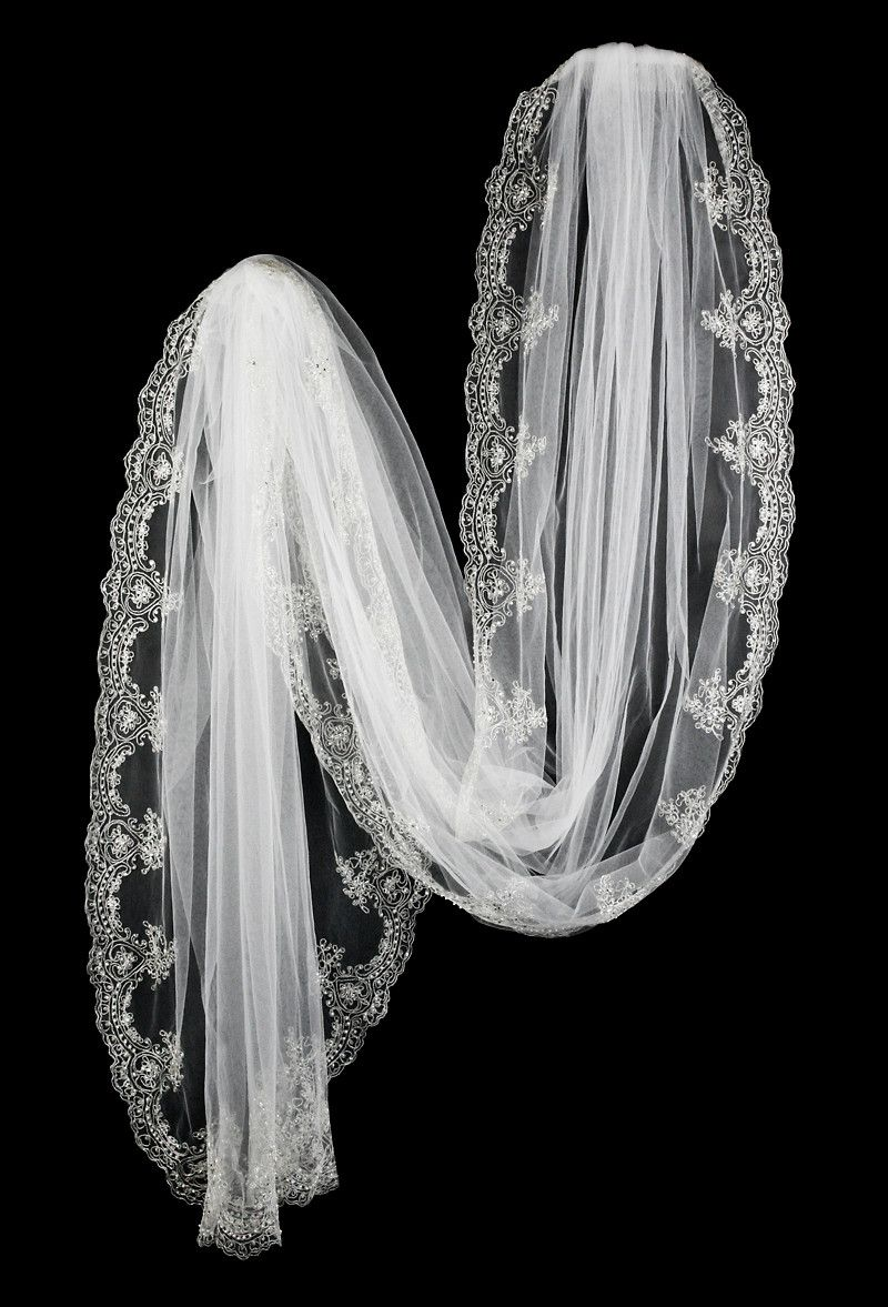 Cathedral Bridal Veil with Elegant Silver Embroidery and