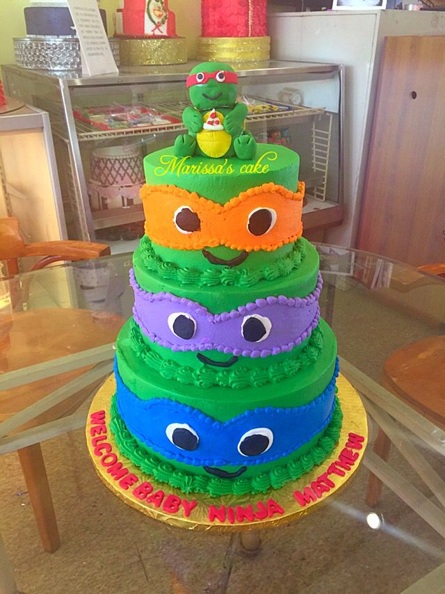 Ninja Turtle Baby Shower Cake Visit Us Facebookmarissascake