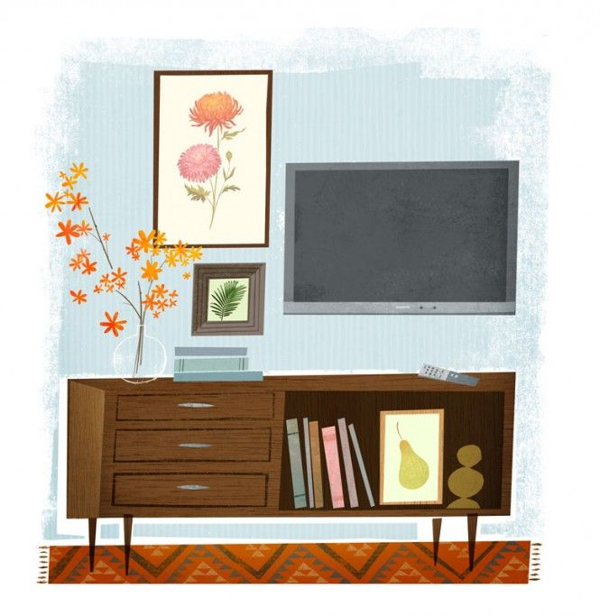 Interior Desk and TV Artwork