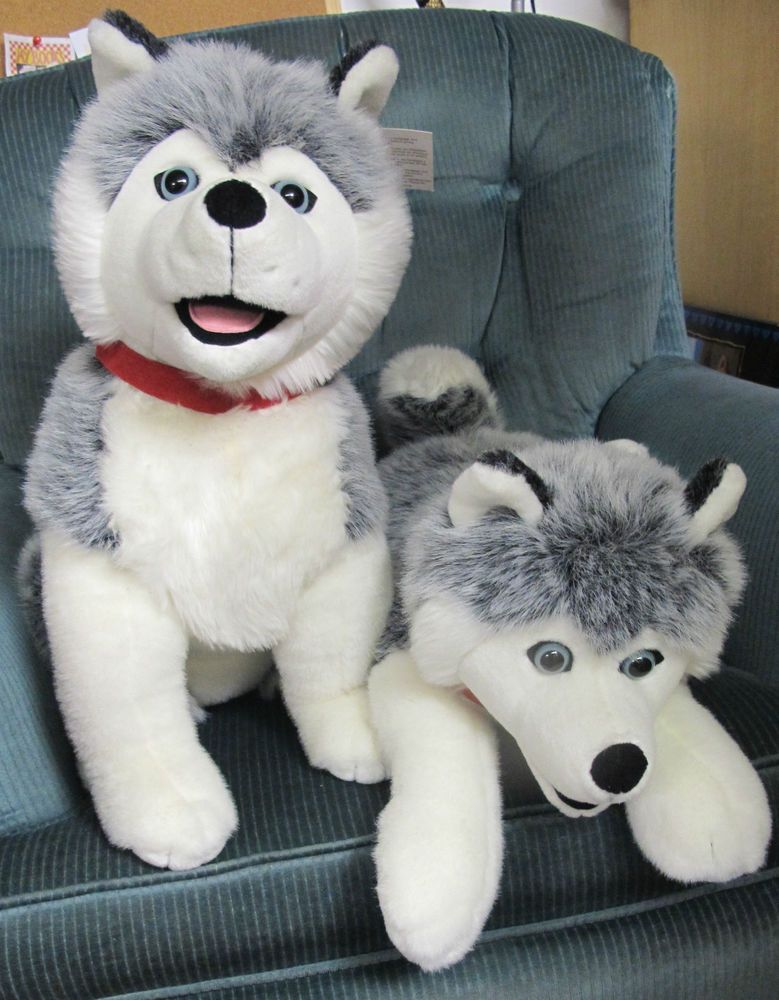 Details About Plush Gray White Husky Puppy Dog Wolf 10