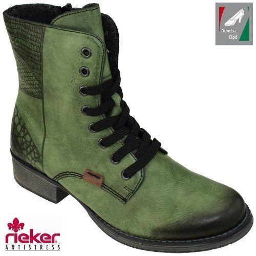 Rieker női bakancs Y9718-52 zöld kombi  3f13b8aa65