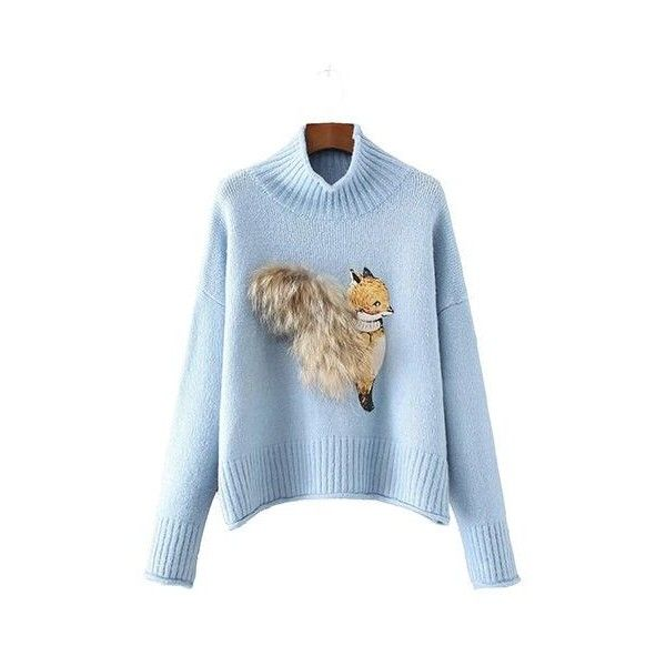 cb4ac9506cb926 Blue Turtleneck Animal Embellished Long Sleeve Sweater (655 ARS) ❤ liked on  Polyvore featuring