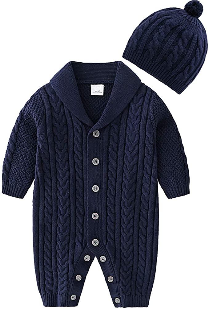 2PCS Newborn Baby Girl Warm Sweater Knit Crochet Romper Jumpsuit+Hats Outfit Set