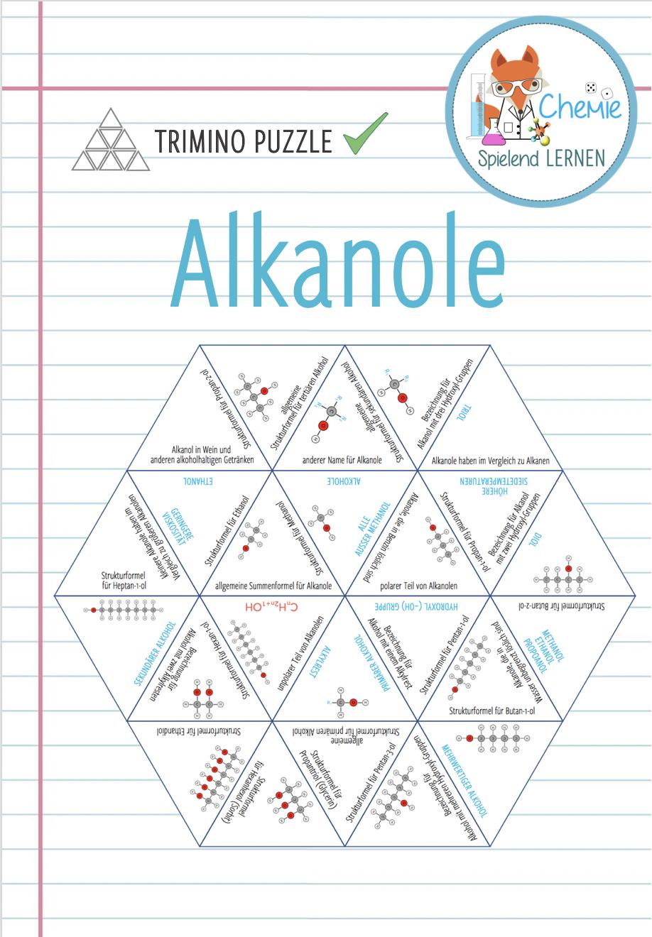 Alkanole Trimino Unterrichtsmaterial Im Fach Chemie Chemieunterricht Unterrichtsmaterial Lernen [ 1320 x 918 Pixel ]