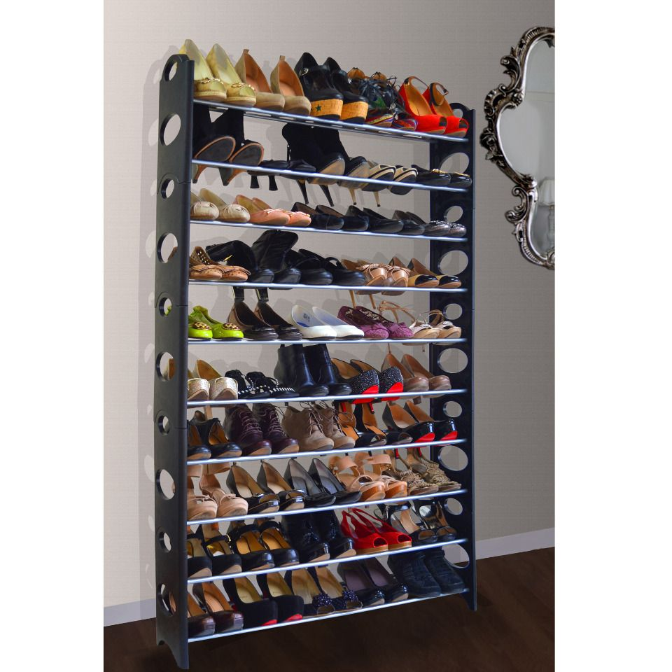 Maison Grand Luxe 50 Pair Shoe Rack In Black   Beyond The Rack
