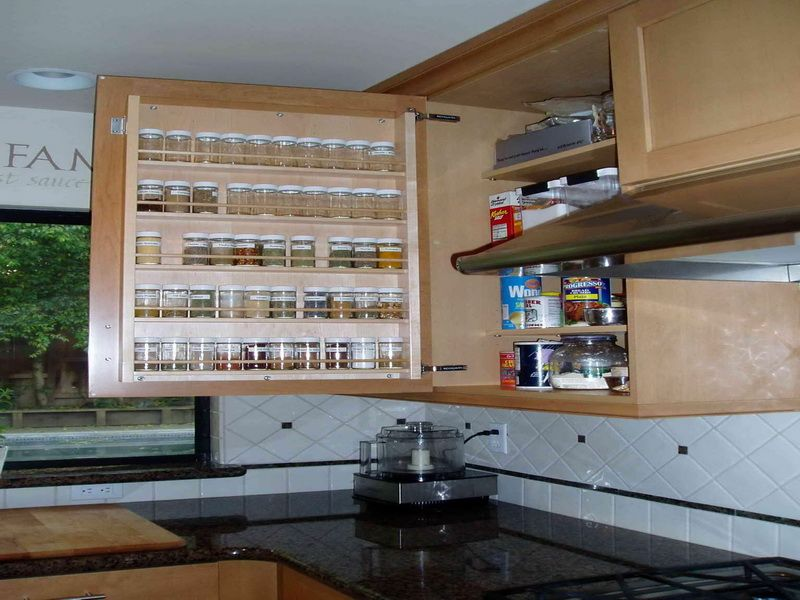Interesting Kitchen Cabinet Pull Out Spice Rack: Outstanding Space ...