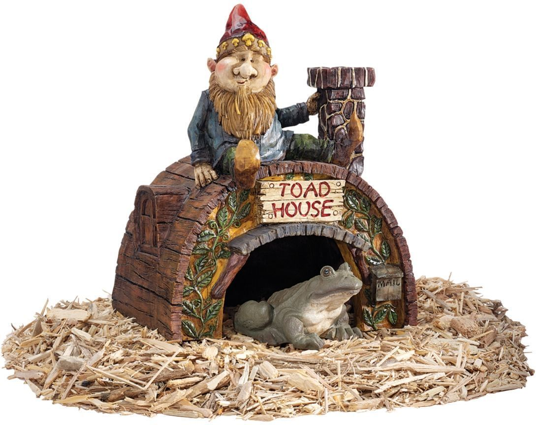 Gnome's Toad Chimney Mailbox House Sculpture Frog Hut Home