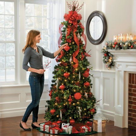 Pre-lit Noble Pine Pull-up Christmas Tree-6-1/2 - Pin By Fiver Market On Store Christmas, Christmas Tree, Pull Up