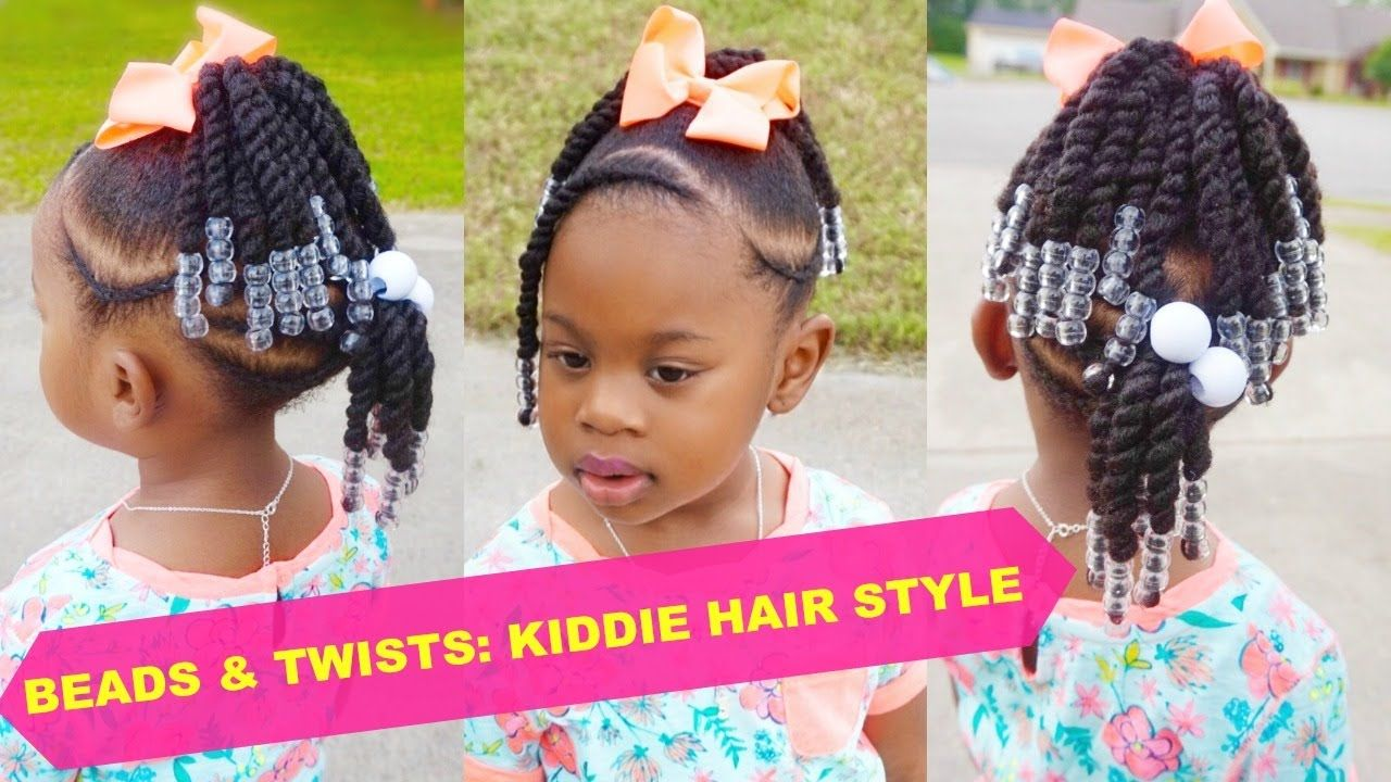 Beads Twists Toddler Natural Hair Style Thick 4b 4c Hair