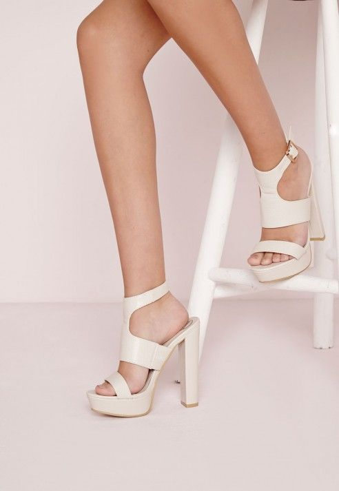e2d5d364ecbe Platform Ankle Strap Heeled Sandals Nude - Shoes - High Heels - Platform  Heels - Missguided
