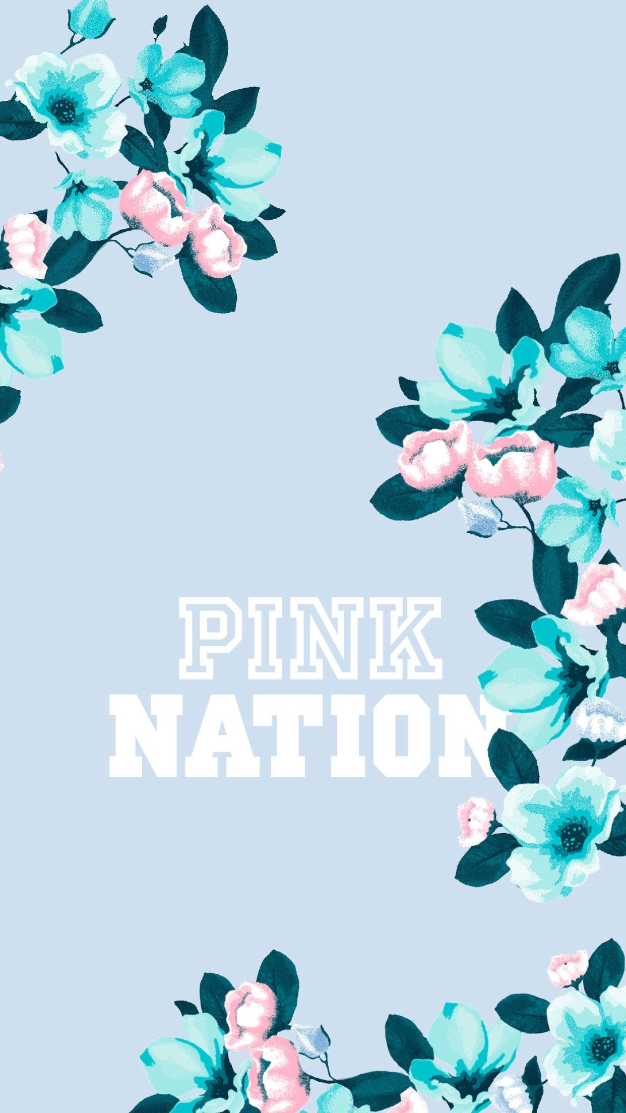 Light Blue Floral Pinknation Pink Wallpaper Iphone Pink Nation Wallpaper Blue Wallpaper Iphone