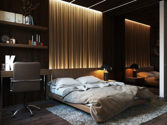 beleuchtung-schlafzimmer-vorhang-wanddeko-dunkel-interieur, Schlafzimmer design
