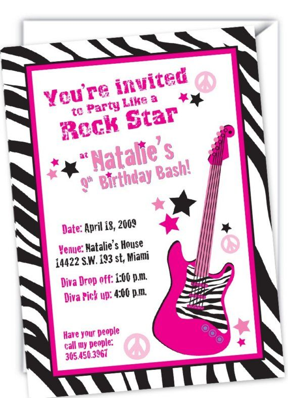 rock star zebra invitations my daughter 39 s 4th birthday party pinterest rock star and rock. Black Bedroom Furniture Sets. Home Design Ideas