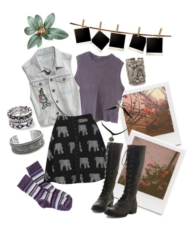 Untitled #22 by clefairyxd on Polyvore featuring polyvore Madewell Topshop Smartwool WithChic NOVICA The Gem Palace Hot Topic Impossible Project fashion style clothing