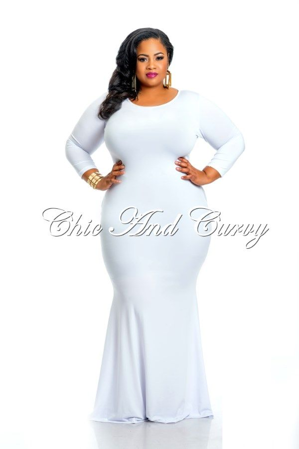 5625c6e02c New Arrival New Plus Size Bodycon Solid Long Maxi Dress in White Back  Keyhole available at