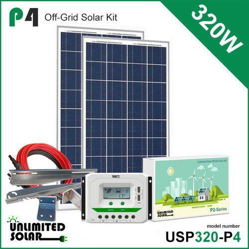 Unlimited Solar P4 Series 320 Watt 12 Volt Off Grid Solar Panel Kit Free Ship Solar Kit Off Grid Solar Panels Solar Panel Kits