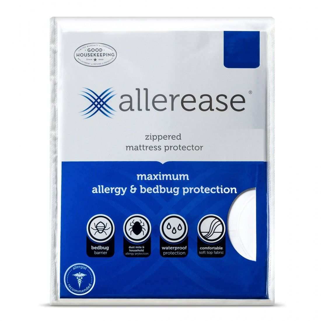 Allerease Maximum Allergy Bed Bug Zippered Mattress Protectorfr