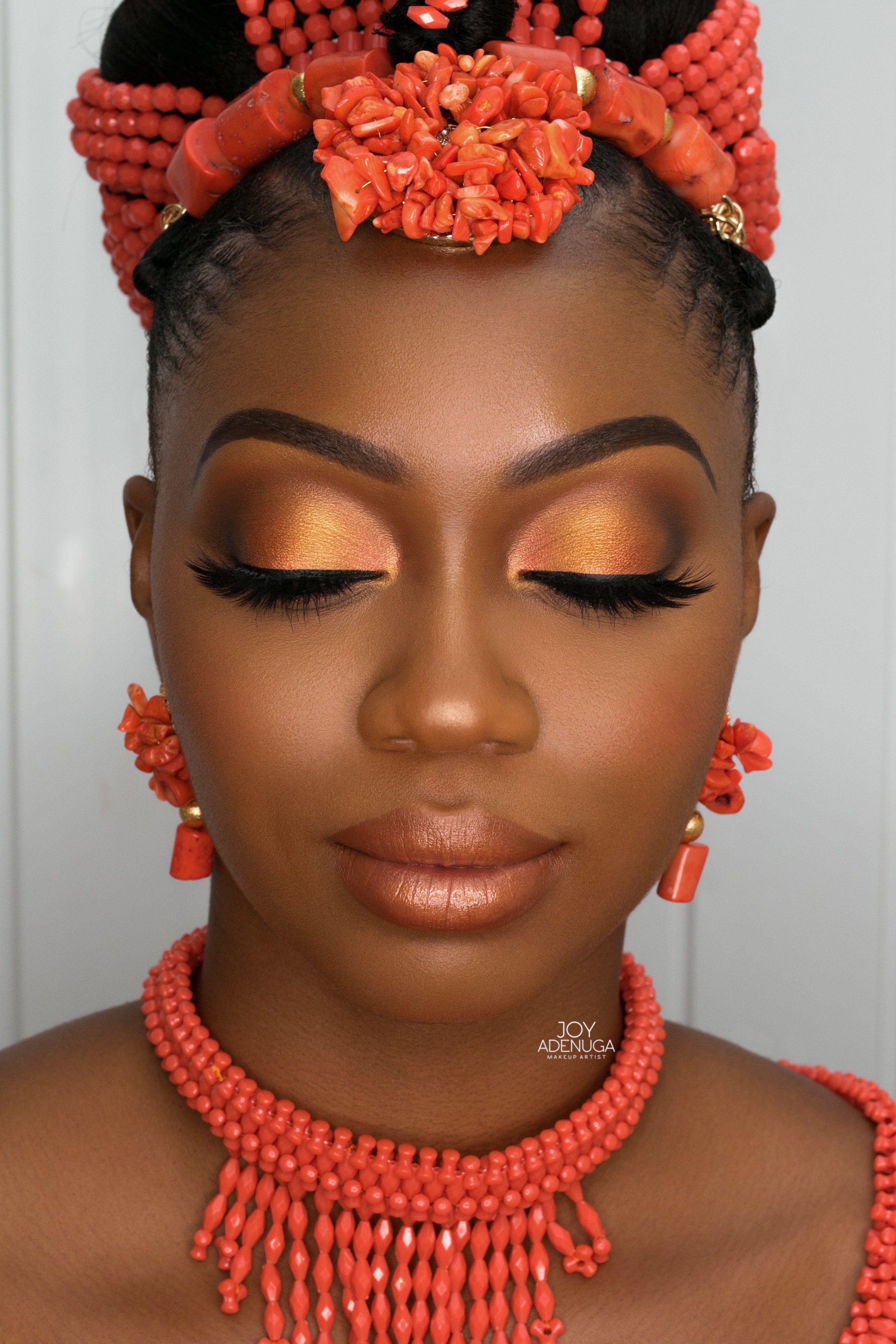 Edo Bride Inspired Makeup for black skin, Dark skin