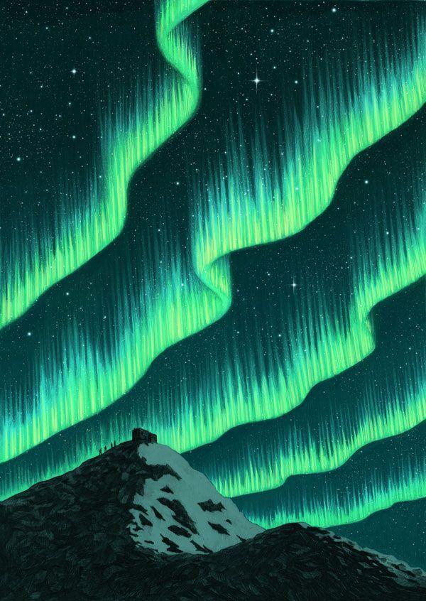 Aurora Borealis type background with  Vibe Higher  written in the sky background & Aurora Borealis type background with