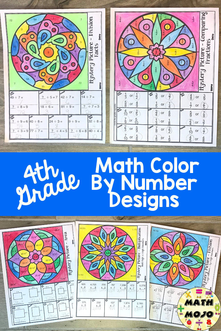 4th Grade Math Activities Math Mystery Picture 4th Grade Math Math Coloring