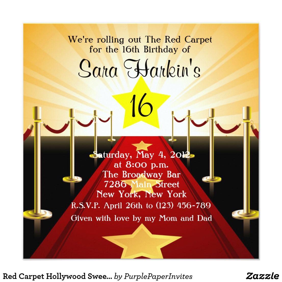 Red Carpet Hollywood Sweet 16 Birthday Invite | Sweet 16 birthday ...