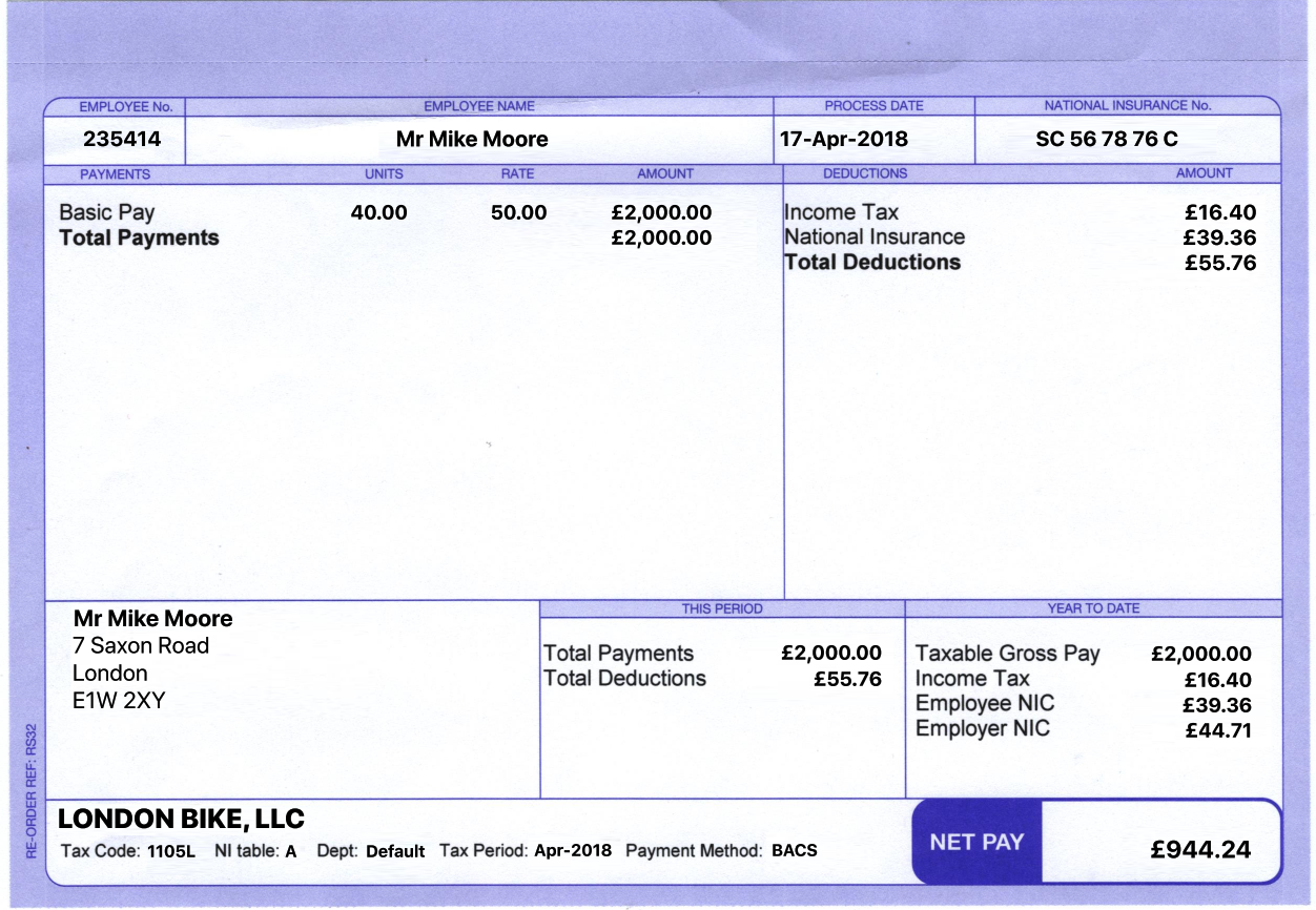 Reprint your UK paystub, payslip or paycheck. Good for
