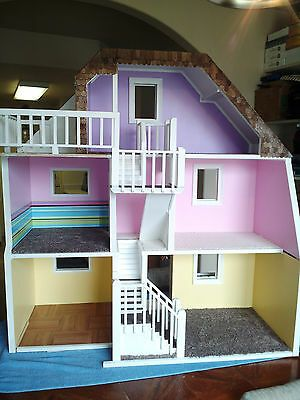 Girls Playhouse Barbie Size Dollhouse Furniture Dream Play Wooden Doll House Fun for sale online