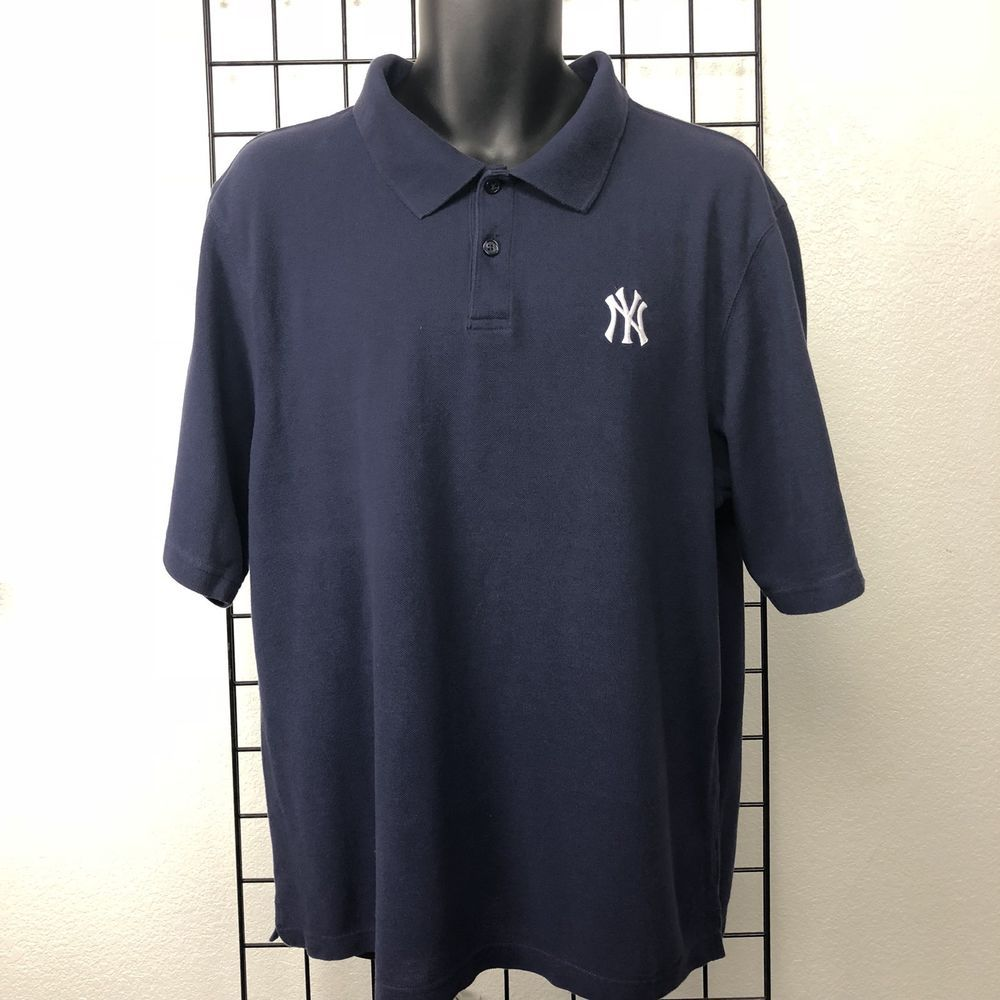 98a379dd9 Navy Blue New York Yankees Reebok MEN'S 100% Cotton Polo Shirt Size XL  #Reebok #NewYorkYankees