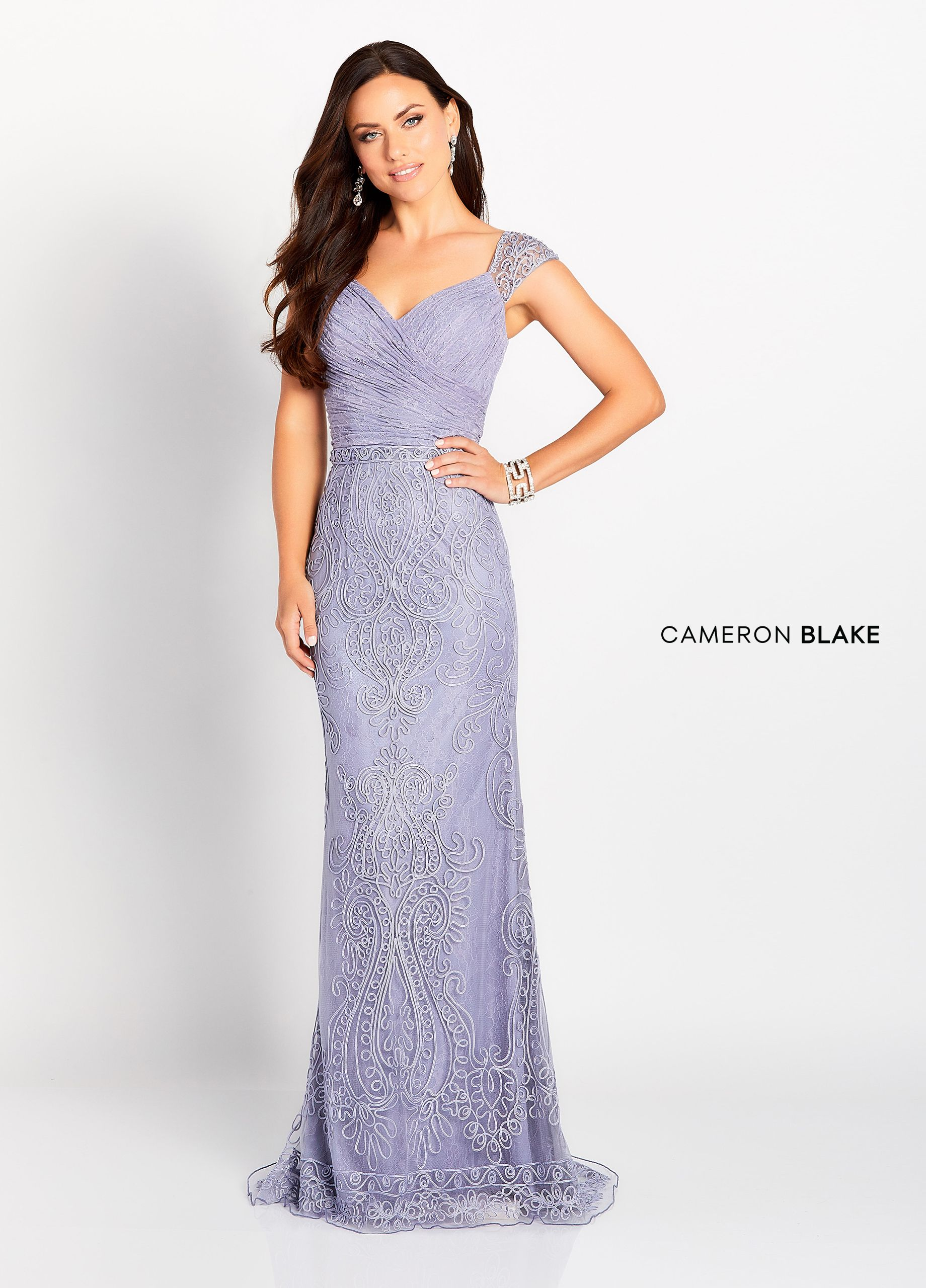 3a947605ee95 Cameron Blake 119643 - Cap sleeve allover lace and ribbon work fit and  flare gown, illusion ribbon work and beaded straps, sweetheart neckline and  v-back, ...