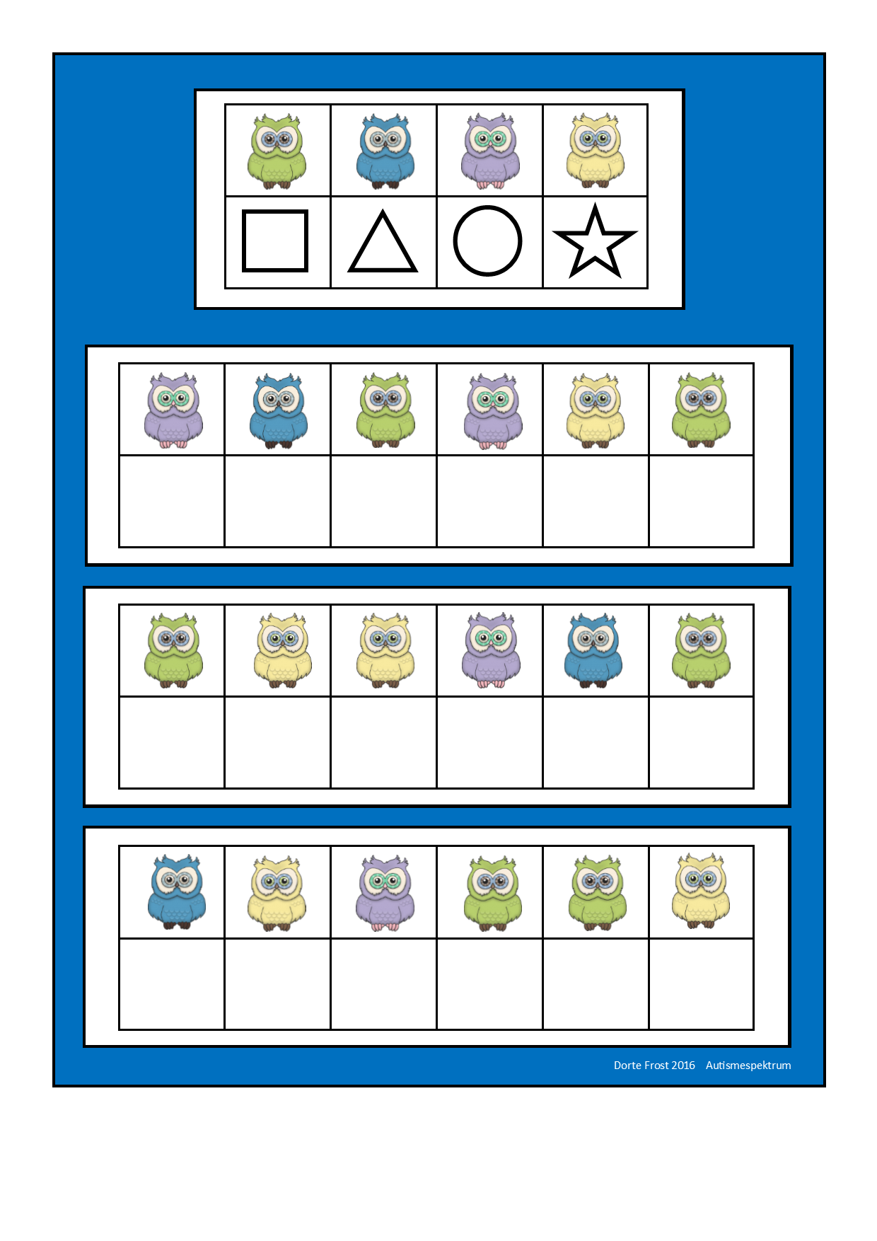 Board For The Owl Visual Perception Game Find The