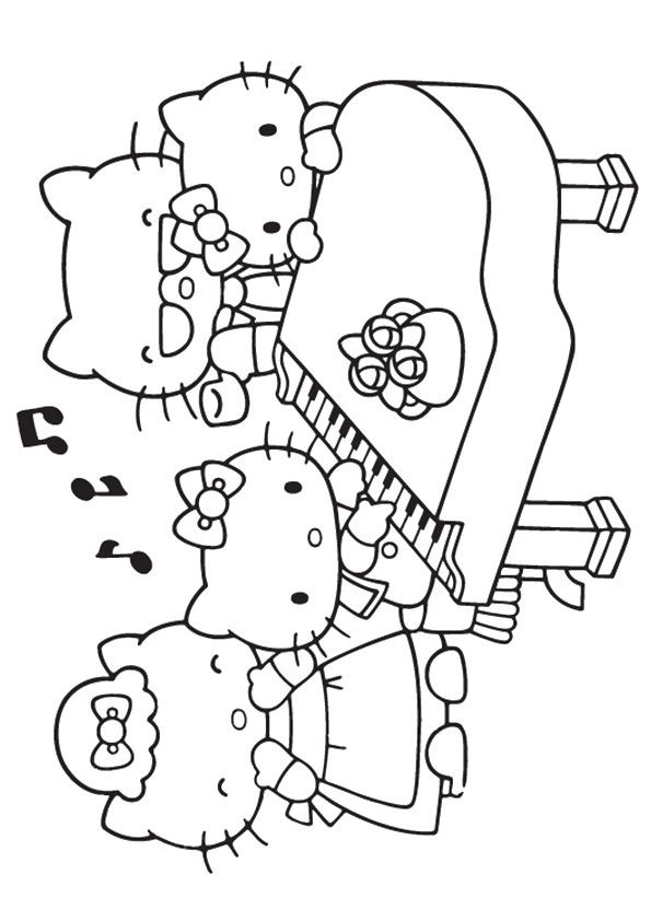 10 Beautiful Piano Coloring Pages For Your Little One Hello Kitty Playing Piano Color