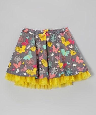 Medium Slate & Yellow Butterfly Skirt - Girls by Eddie & Stine by Eddie Bauer #zulily #zulilyfinds