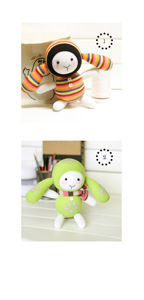 DIY Handmade Sock Doll Kit with detailed English by LittleJenStore