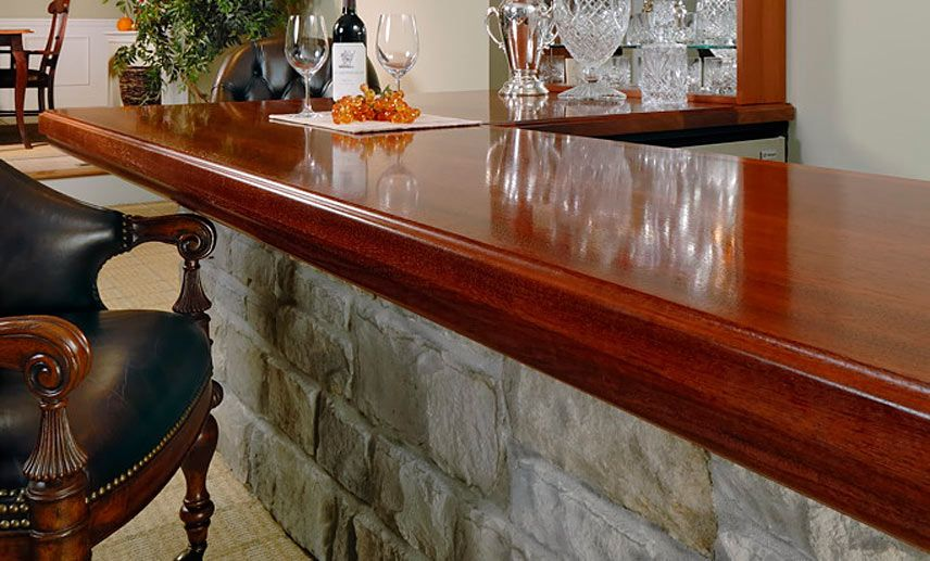 Ordinaire 4 Inch Applied Edge Brazillian Cherry Wood Bar Top In Red And Brown Colors  With A