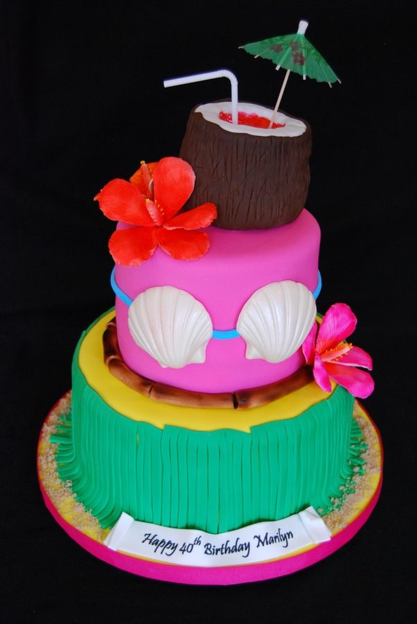 Remarkable Hawaiian Themed 40Th Birthday Cake With Images Hawaiian Funny Birthday Cards Online Overcheapnameinfo