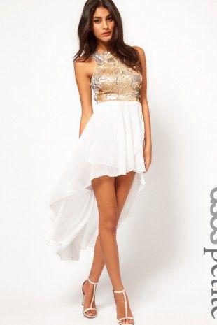 ASOS PETITE - Exklusives Kleid mit Paillettenoberteil und ...