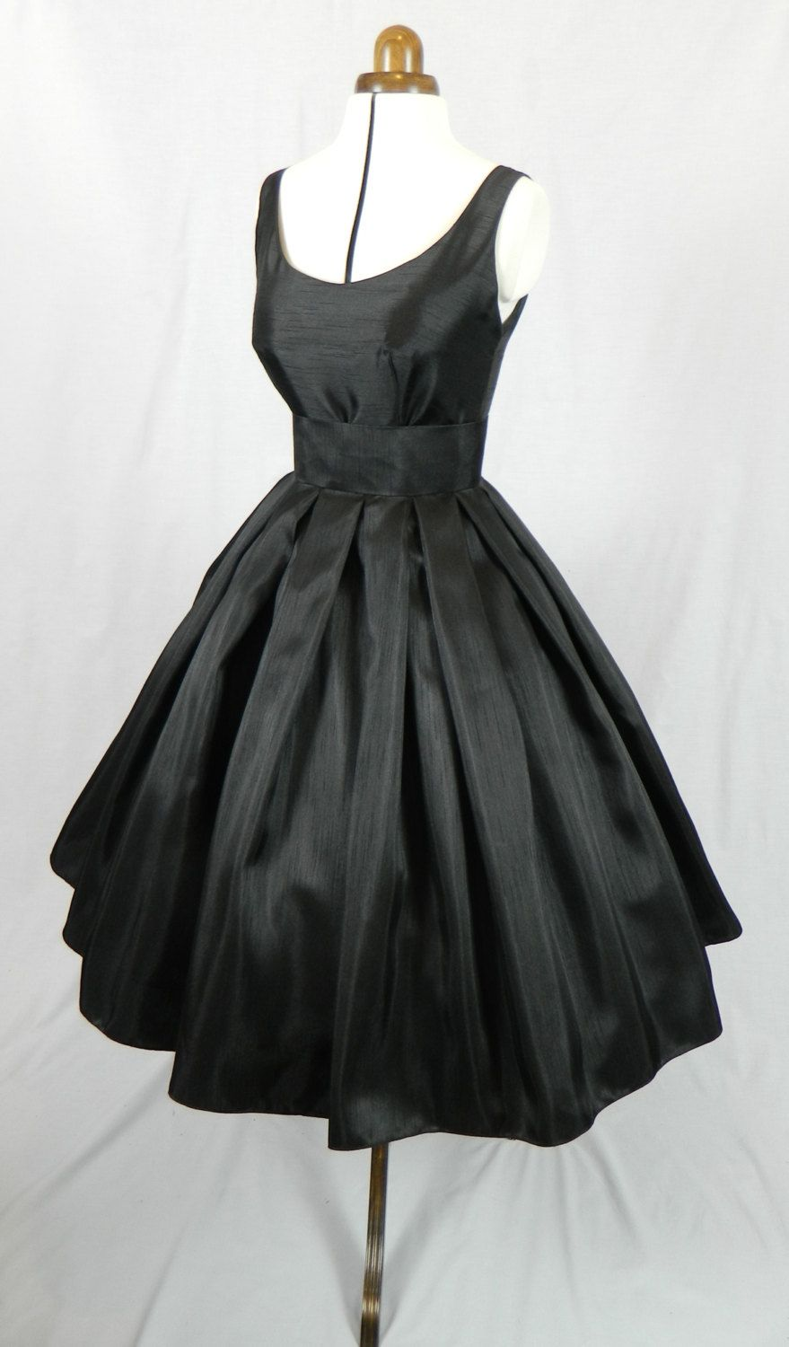 A Gorgeous Black Shantung 50s cocktail dress, fully lined and ...