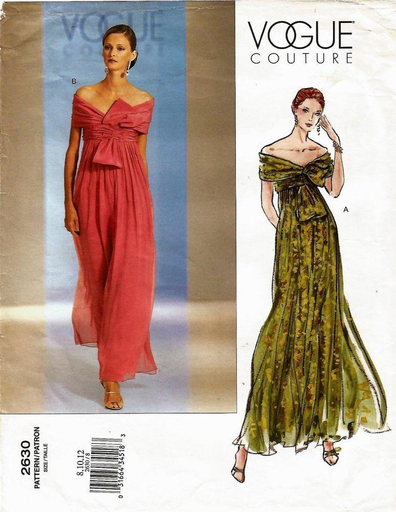 2002 Vogue Couture 2630 Evening Gown Lined Dress Boned 8/10/12 Uncut ...