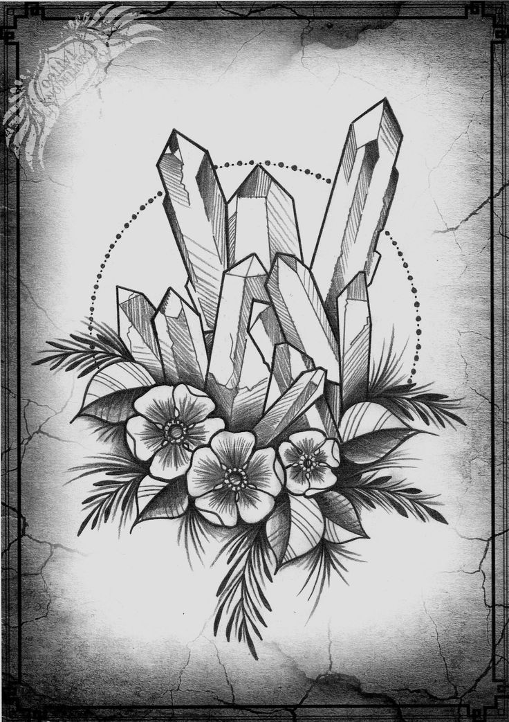 Image Result For Flower And Crystal Tattoo