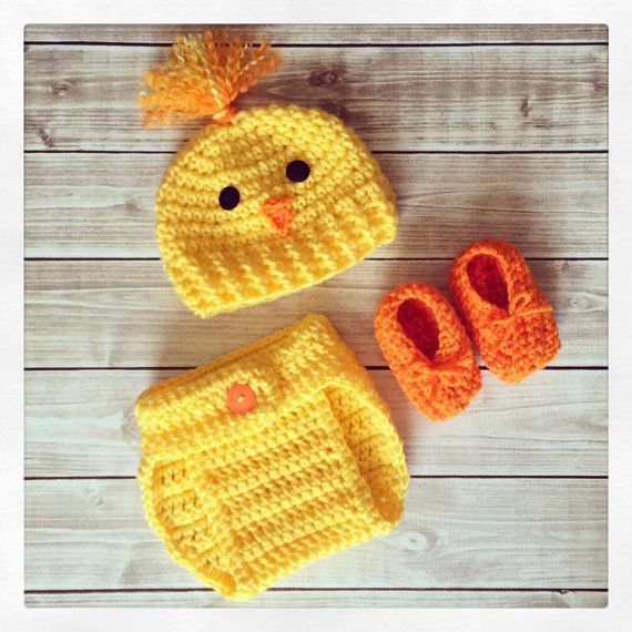 dad74ad3f08ec Baby Chick Hat and Diaper Cover Set