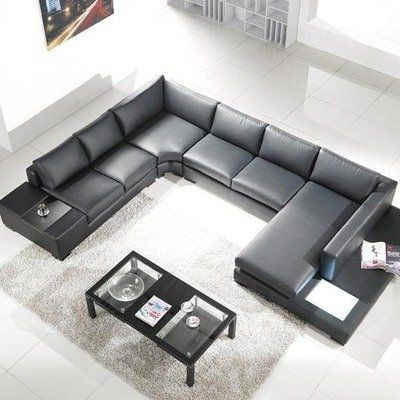 Modern Leather 5 Piece Sectional Sofa In Black Click For More Detail Free Shippin Leather Sectional Sofas Modern Sofa Sectional Black Sectional Living Room