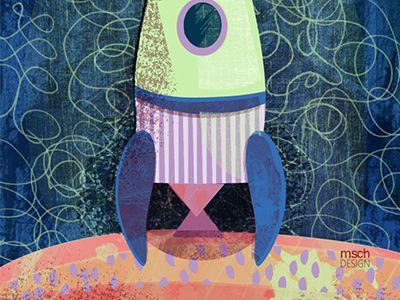 Rocket Ship! by Michelle Schwartzbauer #surfacedesign #illustration #sci-fi #design #rocket