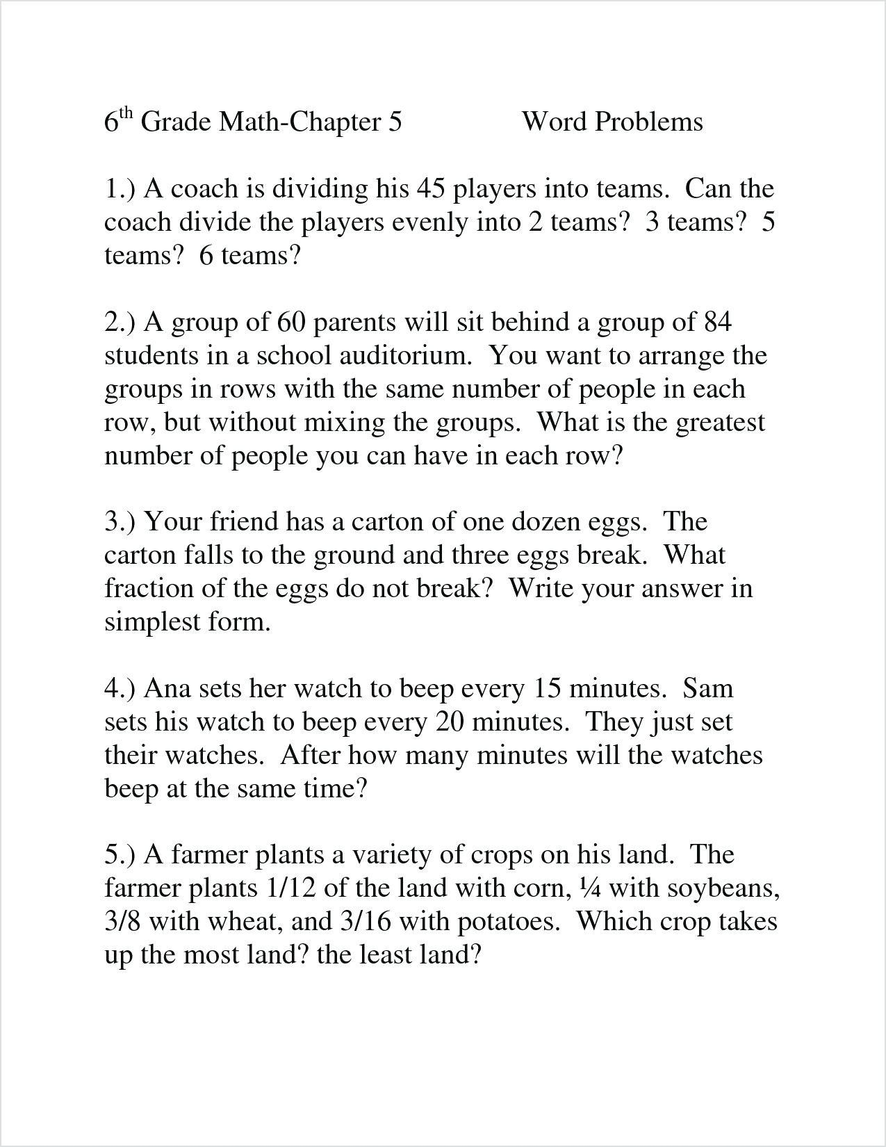 3 Free Math Worksheets Third Grade 3 Division Word