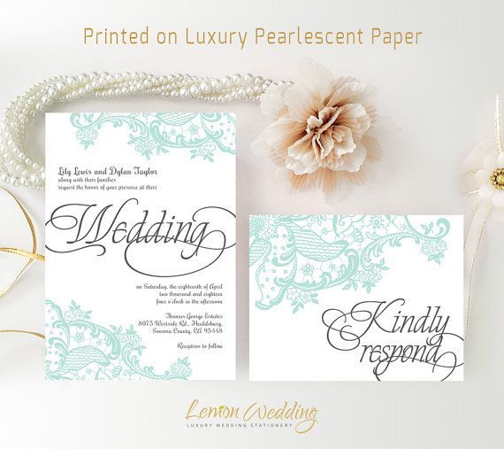 Lace Wedding Invitation Sets Printed On Luxury Shimmer Paper