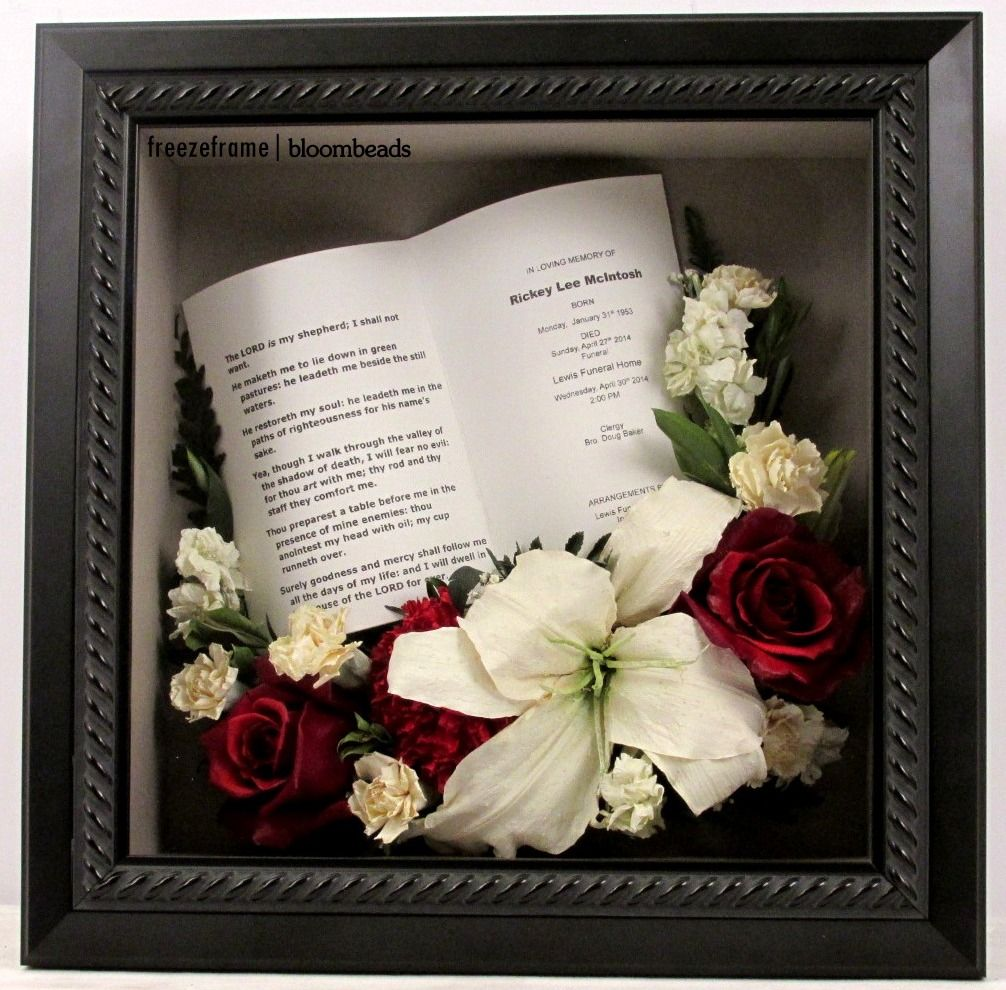 Preserved Memorial Flowers and memory card in shadowbox