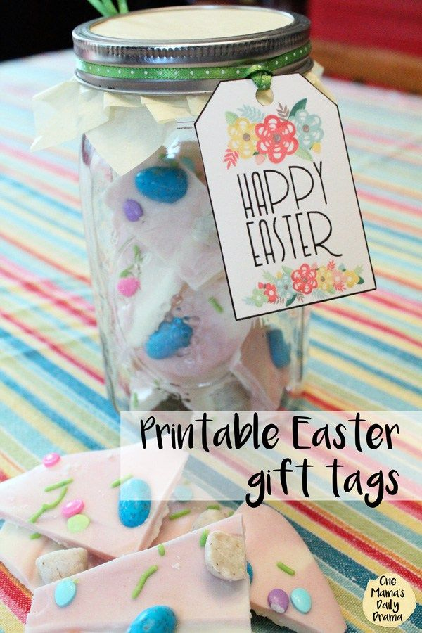 Printable easter tag and mason jar gift idea easter candy easter add this printable easter gift tag to a mason jar filled with homemade easter candy for negle Choice Image